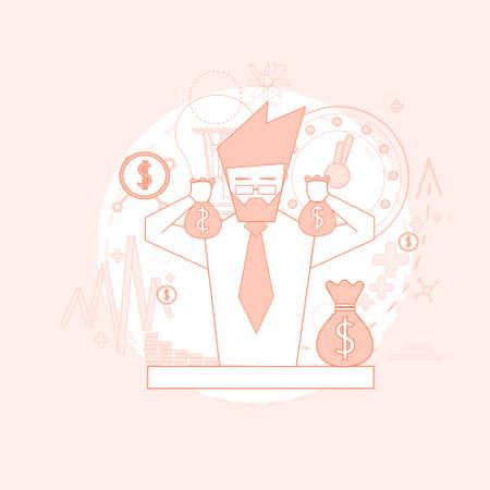 money sack: Rich Businessman Hold Money Sack Successful Finance Savings Vector Illustration Illustration