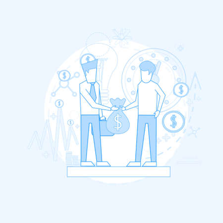 investor: Business Man Give Money Bag Investor Investing Startup Vector Illustration