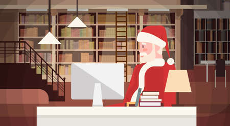 Santa Claus Using Laptop Sitting Desk Indoor Home Happy New Year Merry Christmas Flat Vector Illustration