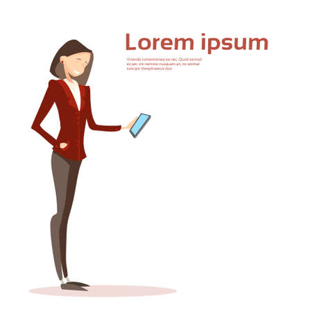 Business Woman Using Cell Smart Phone Message Chatting Flat Vector Illustration