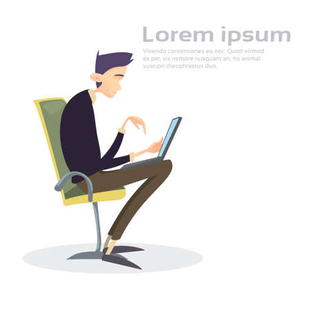 Business Man Sitting Chair Working Laptop Computer Typing Flat Vector Illustration