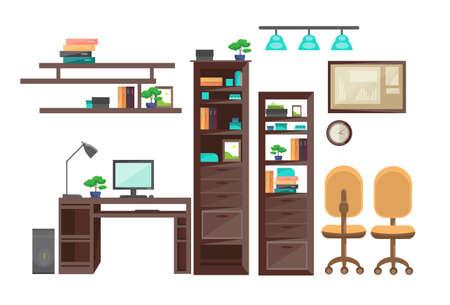 Empty Workplace Desk Workspace Office Interior No People Flat Vector Illustration Illustration