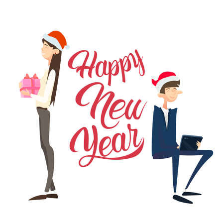 Happy Business People Hold Present Box Gift Merry Christmas And Happy New Year Flat Vector Illustration Illustration