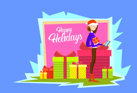 Business Woman Hold Present Box Messaging Online Cell Phone Merry Christmas And Happy New Year Flat Vector Illustration