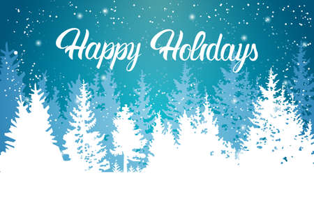 Happy Holidays Winter Mountain Forest Landscape Background, Pine Snow Trees Woods Flat Vector Illustration Vetores
