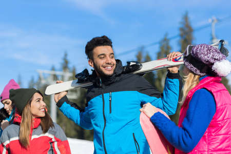 People Group With Snowboard And Ski Resort Snow Winter Mountain Friends Communication Extreme Sport Vacation