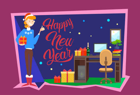 Business Woman Hold Present Box Gift Merry Christmas And Happy New Year Celebration Office Interior Flat Vector Illustration