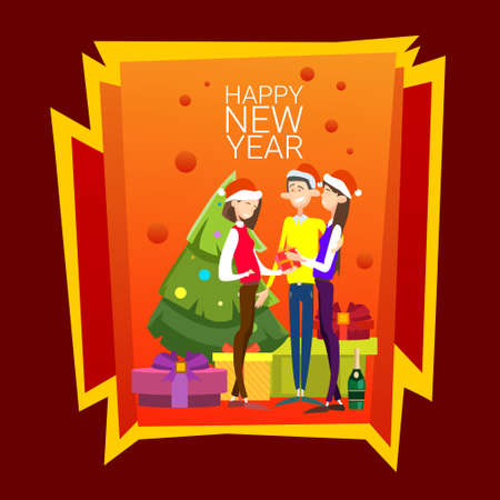 associates: Businesspeople Celebrate Merry Christmas And Happy New Year People Group Santa Hat Flat Vector Illustration