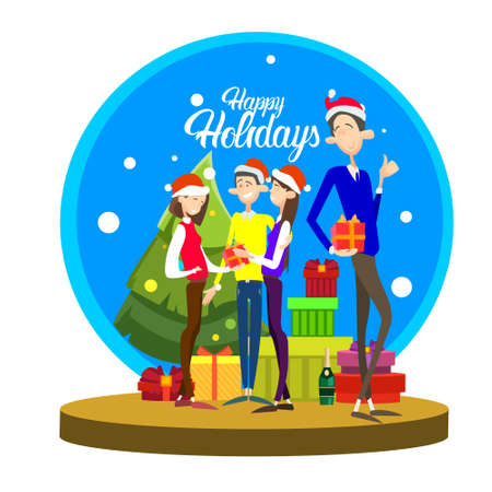 Businesspeople Celebrate Merry Christmas And Happy New Year People Group Santa Hat Flat Vector Illustration