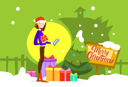 woman cellphone: Woman Hold Present Box Messaging Online Cell Phone Merry Christmas And Happy New Year Flat Vector Illustration Illustration