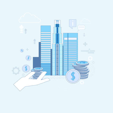 investor: Investment Money Investor Business Thin Line Vector Illustration