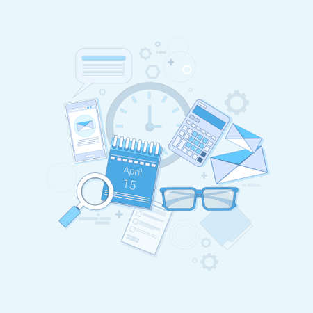 financial analysis: Financial Analysis Time Management Scheduling Business Thin Line Vector Illustration
