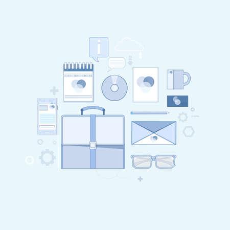 office stuff: Briefcase Business Finance Stuff Thin Line Vector Illustration