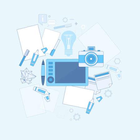 retouch: Design Idea Graphic Designer Drawing Icon Web Thin Line Vector Illustration