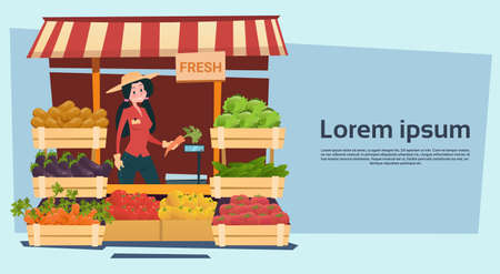 Farm Market Organic Eco Fruits Vegetables Grocery Flat Vector Illustration
