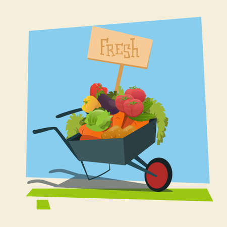 agronomy: Trolley With Fresh Vegetable Harvest Shop Eco Farming Flat Vector Illustration