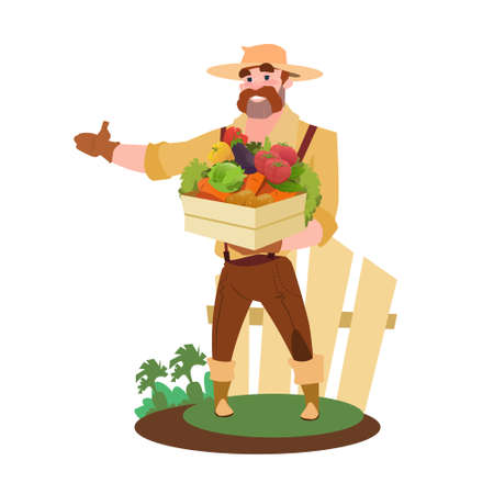countryman: Farmer Hold Box With Fresh Vegetables Eco Farming Market Flat Vector Illustration Illustration