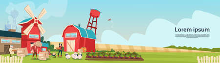 Farmers Family Wheat Mill Building Farmland Countryside Landscape Flat Vector Illustration Vetores