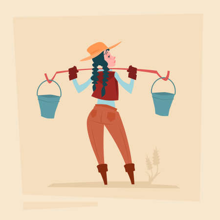peasant woman: Farmer Country Woman Agriculture Business Cartoon Character Flat Vector Illustration