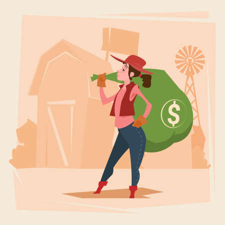 Farmer Country Woman Hold Big Money Sack Success Agriculture Business Flat Vector Illustration Illustration