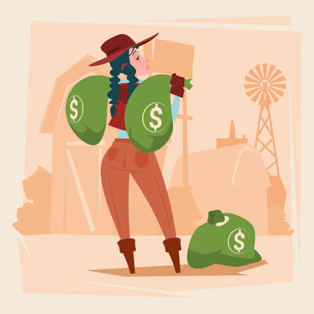 peasant woman: Farmer Country Woman Hold Big Money Sack Success Agriculture Business Flat Vector Illustration Illustration