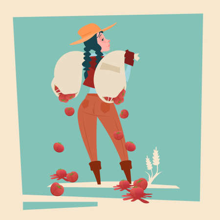 agronomist: Farmer Country Woman Hold Sack With Tomato Falling Down Cartoon Character Flat Vector Illustration Illustration