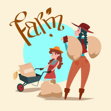 villager: Farmers Family Hold Wheat Sack Bread Production Farmland Countryside Flat Vector Illustration Illustration