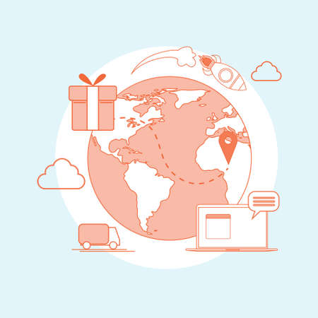 Logistic Shipping Delivery Service Web Thin Line Vector Illustration