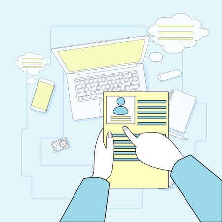 cvv: Hands Hold CVV Resume Employment Workplace Desk Laptop Computer Top Angle View Vector Illustration