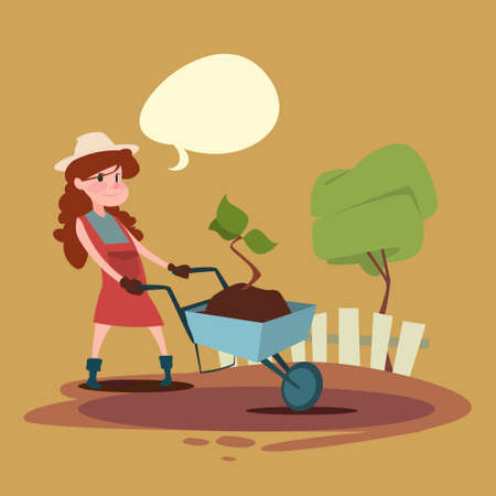 Small Girl Farmers Daughter Hold Trolley Growing Tree Flat Vector Illustration