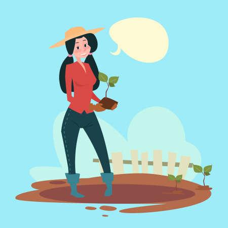 tree farming: Farmer Woman Plant Tree Eco Farming Flat Vector Illustration