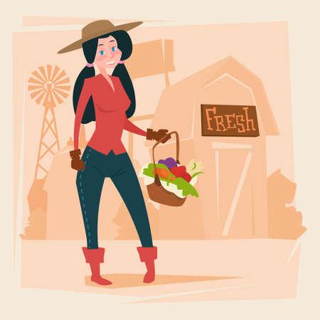 agronomy: Farmer Woman Gather Harvest Eco Farming Flat Vector Illustration Illustration