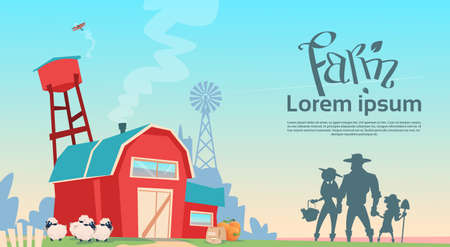 rancher: Silhouette Farmers Family Building Farmland Countryside Landscape Flat Vector Illustration