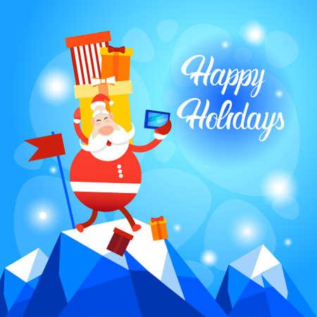 Santa Claus Present Box Making Selfie Photo Merry Christmas Greeting Card Happy New Year Flat Vector Illustration Illustration