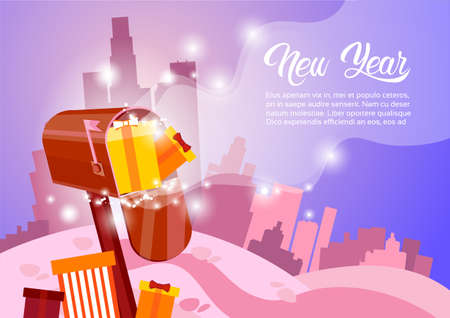 Mail Box With Present Happy New Year Merry Christmas Greeting Card Banner Flat Vector Illustration