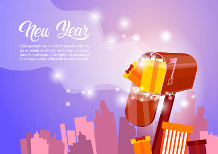 Mail box with present happy new year merry christmas greeting mail box with present happy new year merry christmas greeting card banner flat vector illustration stock m4hsunfo