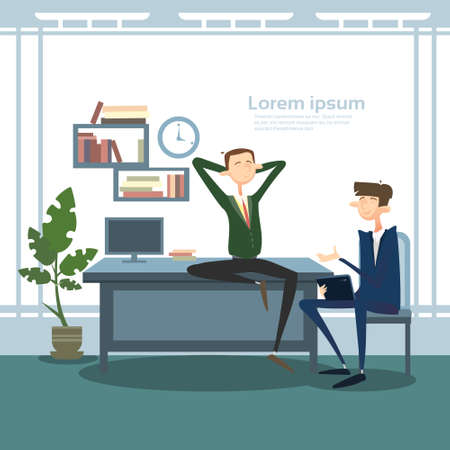 briefing: Business Man Group Interior Workplace, Businessman Manager Office Worker Flat Vector Illustration Illustration