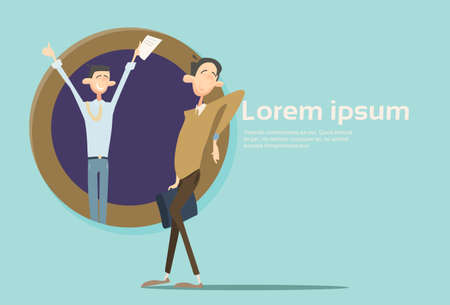 Happy Business Man Team Student Group Banner With Copy Space Flat Vector Illustration