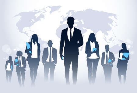 associates: Business People Team Crowd Walk Silhouette Concept Businesspeople Group Human Resources over World Map Background Vector Illustration