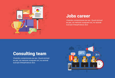 recruit help: Job Career Professional Occupation, Consulting Team Support Technical Online Chat Web Banner Flat Vector Illustration