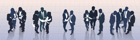 Business People Group Meeting Discussion, Talking Top Angle View, Businesspeople Team Banner Vector Illustration