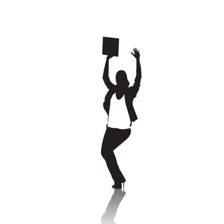 hold hands: Business Woman Silhouette Excited Hold Hands Up Raised Arms, Businesswoman Full Length Winner Success Vector Illustration
