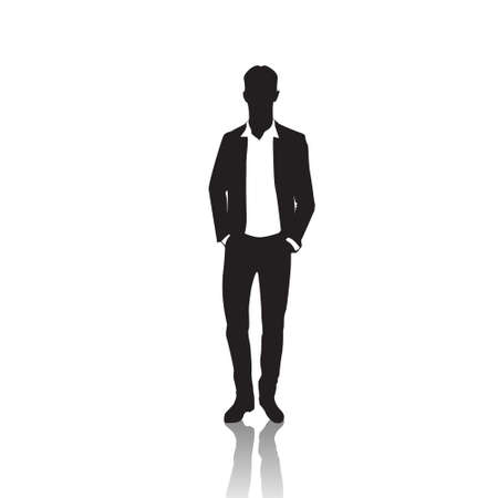 Business Man Black Silhouette Standing Full Length Over White Background Hands In Pockets Vector Illustration
