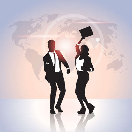 hold hands: Business People Group Silhouette Excited Hold Hands Up Raised Arms, Businesswoman And Businss Man Winner Success Vector Illustration Illustration