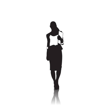 person silhouette: Business Woman Black Silhouette Full Length Over White Background Vector Illustration Illustration