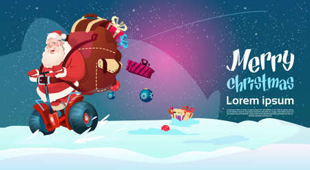 Santa Claus Ride Electric Scooter Christmas Holiday Happy New Year Greeting Card Flat Vector Illustration