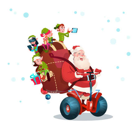Santa Claus Elf Ride Electric Scooter Christmas Happy New Year Greeting Card Flat Vector Illustration