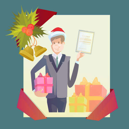 Business Man Hold Contract Gift Box New Year Christmas Present Celebration Holiday Frame Vector Illustration Illustration