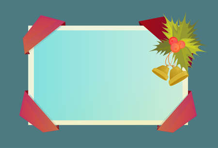 Decorated Frame New Year Christmas Present Celebration Holiday Vector Illustration