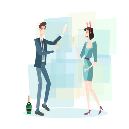 Business Couple Celebrate Merry Christmas And Happy New Year Business People Team Flat Vector Illustration Stock Vector - 128441594
